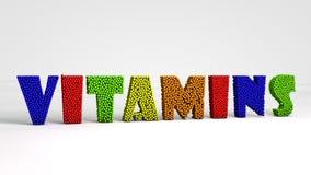 Vitamine bunter pheres 3d Text lokalisiert Lizenzfreie Stockfotografie