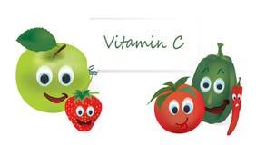 Vitamine Cgroenten en Vruchten Stock Afbeeldingen