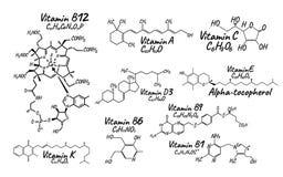Vitamine Complex B1, B6, B9, B12, K, A, E, c-Etiket en Pictogram chem stock illustratie