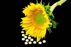 Vitamine D en Zonnebloem Royalty-vrije Stock Foto's