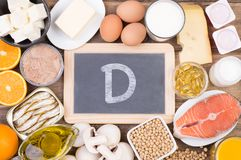 Vitamine D food sources, top view on wooden background. Vitamine D food sources such as fish, dairy and healthy fats, top view on wooden background Stock Photo