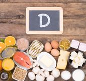 Vitamine D food sources, top view on wooden background. Vitamine D food sources such as fish, dairy and healthy fats, top view on wooden background Stock Photography