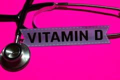 Vitamine D op het document met gezondheidszorg voor bejaarden-Concept royalty-vrije stock foto