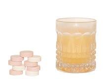 Vitamine effervescenti con gusto arancio Fotografia Stock