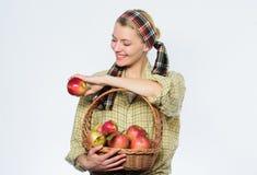 vitamine en het op dieet zijn voedsel Organisch en vegetarisch Gezonde tanden boomgaard, tuinmanmeisje met appelmand Gelukkige vr stock foto's