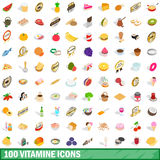 100 vitamine icons set, isometric 3d style. 100 vitamine icons set in isometric 3d style for any design vector illustration Royalty Free Stock Image