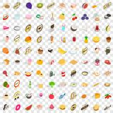 100 vitamine icons set, isometric 3d style. 100 vitamine icons set in isometric 3d style for any design vector illustration Royalty Free Stock Images