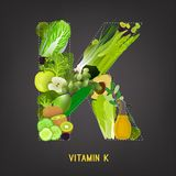 Vitamine K in Voedsel Stock Afbeeldingen