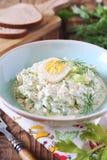Vitamine lichte plantaardige salade met dille, selderie, eieren en Griekse yoghurt royalty-vrije stock foto's