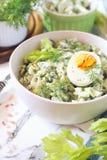 Vitamine lichte plantaardige salade met dille, selderie, eieren en Griekse yoghurt royalty-vrije stock afbeeldingen