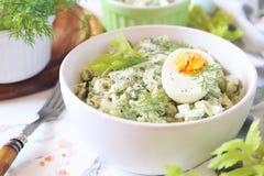 Vitamine lichte salade met dille, selderie, eieren en Griekse yoghurt stock foto