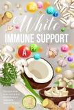 Vitamine naturali di dieta di sostegno immune bianco di vettore royalty illustrazione gratis