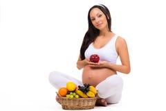 Vitamine und richtige Nahrung während der Schwangerschaft Stockfotografie