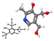 Vitamineb6 molecule met chemische formule vector illustratie