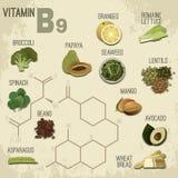 Vitamineb9 Voedsel Royalty-vrije Stock Afbeeldingen