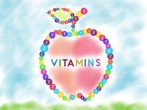 vitaminen en voedings onderwijsaffiche Stock Afbeeldingen