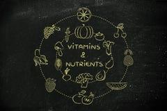 Vitaminen en voedingsmiddelen: gezonde natuurvoeding zoals fruit en vege royalty-vrije stock afbeelding