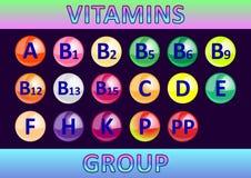 Vitaminengroep, de lijst van vitaminen in de vorm van ronde glanzende multi-colored tabletten royalty-vrije illustratie