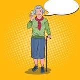 Vitamines d'Art Senior Happy Woman Holding de bruit Soins de santé Illustration Stock
