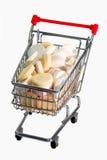 Vitamines dans un chariot modèle Photos stock