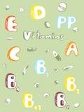 Vitamines et pilules dans le style de croquis, couleurs Photographie stock