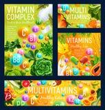 Vitamines, fruits et légumes, écrous et herbes illustration de vecteur