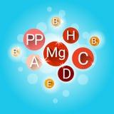 Vitamines nutritives essentielles de minerais d'éléments chimiques illustration stock