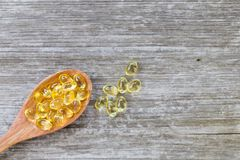 Vitamines saines, Omega 3, vue supérieure Image stock