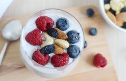 Vitaminfrühstücksjoghurt chia Samencocktail Lizenzfreie Stockfotografie