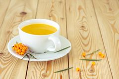 Vitaminic te med hav-buckthornen på trätabellen Royaltyfria Bilder