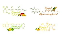 Vitaminkomplex med mat K, A, E, c-etikett och symbol Kemikalie Fo stock illustrationer
