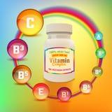 Vitaminkomplexpacke Fotografering för Bildbyråer