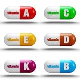 Vitaminpreventivpillerar Arkivfoton