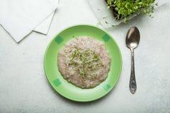 Vitaminsädesslag med mikrogräsplaner, begreppet av en sund frukost royaltyfri bild
