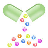 Vitamins. Illustration vitamins poured from the open capsule royalty free illustration