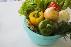 Vitamins in blue bowl Stock Image