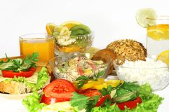 Vitamins Breakfast. Of fruit, vegetables, cheese Royalty Free Stock Photos