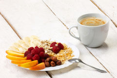Vitamins breakfast with coffee Royalty Free Stock Photo