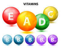 Vitamins. Button with vitamins. Set. Ascorbic acid (vitamin C), Retinol (vitamin A), Cholecalciferol (vitamin D3), Tocopherols (vitamin E) and vitamins B complex stock illustration