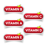 Vitamins button set vector Stock Image