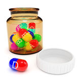Vitamins in capsules from the bottle Royalty Free Stock Photography