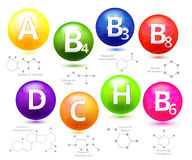 Vitamins chemical structures Royalty Free Stock Photo