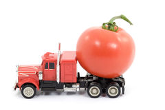 Vitamins cistern. Toy truck transporting food Stock Photo