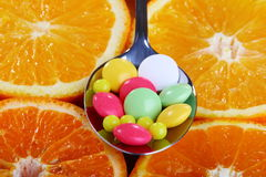 Vitamins in citrus circles. Stock Image