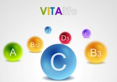 Vitamins colorful balls vector background Royalty Free Stock Photography