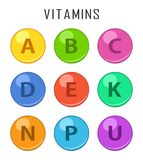 Vitamins colorful pills capcule icons isolated on white background. Retinol vitamins drop pills capsule. Stock Image