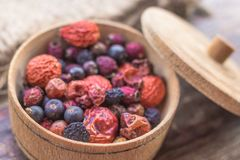 Vitamins in dried berries. Useful berries. Dried summer berries. People`s remedy. Berries for Morse. Blueberry, dog rose, mountain ash, juniper, hawthorn - a Royalty Free Stock Images