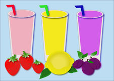 Vitamins of fruits. Lemon,plum and strawbwerry beverages Stock Photography
