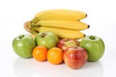 Vitamins in fruits. Natural vitamins apples, bananas, oranges Stock Photo