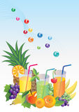 Vitamins, fruits and juice Stock Image